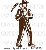 Vector Clip Art of Retro Brown and White Woodcut Male Farmer Holding a Scythe by Patrimonio