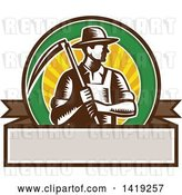 Vector Clip Art of Retro Brown and White Woodcut Male Farmer Holding a Scythe in a Sunset Circle over a Blank Banner by Patrimonio