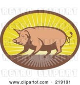 Vector Clip Art of Retro Brown and Yellow Pig and Sunrise Logo by Patrimonio