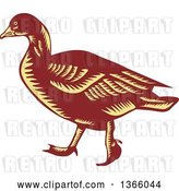 Vector Clip Art of Retro Brown and Yellow Woodcut Walking Goose by Patrimonio