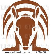 Vector Clip Art of Retro Brown Armadillo from the Front by Patrimonio