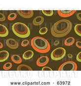 Vector Clip Art of Retro Brown Background of Yellow and Orange Circles by KJ Pargeter