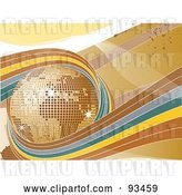 Vector Clip Art of Retro Brown, Blue and Yellow Waves Circling a Golden Disco Globe by Elaineitalia