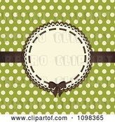 Vector Clip Art of Retro Brown Bow on a Frame with Beige Polka Dots on Green by Elaineitalia
