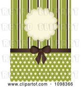 Vector Clip Art of Retro Brown Bow with Brown Green and Beige Stripes a Frame and Polka Dots on Green by Elaineitalia