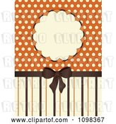 Vector Clip Art of Retro Brown Bow with Orange and Beige Stripes a Frame and Polka Dots by Elaineitalia