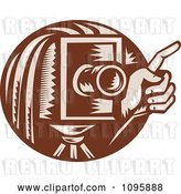 Vector Clip Art of Retro Brown Box Camera and Photographers Hand Holding a Finger up by Patrimonio