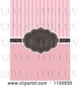Vector Clip Art of Retro Brown Burst Frame and Ribbon Invitation with Lace over Solid Pink and Stripes by KJ Pargeter