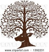 Vector Clip Art of Retro Brown Deer Head with His Antlers Forming a Tree by Patrimonio