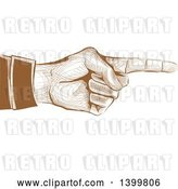 Vector Clip Art of Retro Brown Engraved Hand Pointing by BNP Design Studio