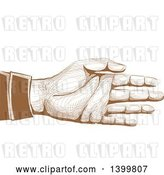 Vector Clip Art of Retro Brown Engraved Hand Reaching to Shake by BNP Design Studio