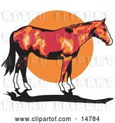 Vector Clip Art of Retro Brown Horse with White Feet Standing Against a Sunset by Andy Nortnik