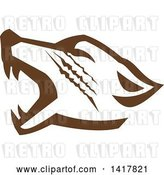Vector Clip Art of Retro Brown Howling Wolf Head by Patrimonio