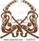 Vector Clip Art of Retro Brown Laurel Wreath with Crossed Swords by Vector Tradition SM