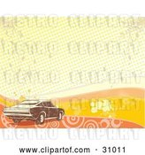 Vector Clip Art of Retro Brown Muscle Car over a Grunge Background of Orange and Yellow Waves, Grunge, Circles, Dots and Splatters by David Rey