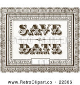 Vector Clip Art of Retro Brown Ornate Save the Date Wedding Background with a Little Space for Text by BestVector