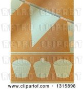 Vector Clip Art of Retro Brown Paper Textured Cupcake and Party Bunting Banner Background by Elaineitalia