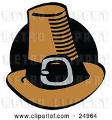 Vector Clip Art of Retro Brown Pilgrim Hat with a Buckle Around the Base, in Front of a Black Circle by Andy Nortnik
