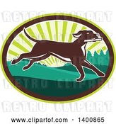Vector Clip Art of Retro Brown Pointer Dog Running in a Sunrise Oval by Patrimonio