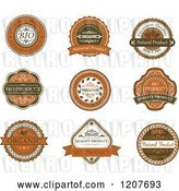 Vector Clip Art of Retro Brown Quality and Organic Labels by Vector Tradition SM