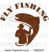 Vector Clip Art of Retro Brown Silhouetted Fly Fisher Man and Trout Fish Under Text by Patrimonio