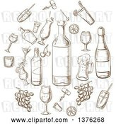 Vector Clip Art of Retro Brown Sketched Beverages, Alcohol, Fruits, Glasses and Corkscrews Sketches in a Circle by Vector Tradition SM