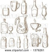 Vector Clip Art of Retro Brown Sketched Fruit Juice, Beer, Soda, Beer, Alcohol, Champagne, Milkshake, Liquor, Milk, Coffee, Liqueur by Vector Tradition SM