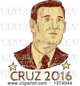 Vector Clip Art of Retro Brown Sketched Portrait of Ted Cruz over Text by Patrimonio