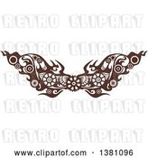Vector Clip Art of Retro Brown Steampunk Border or Tattoo Design Element with Gears by BNP Design Studio