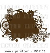 Vector Clip Art of Retro Brown Steampunk Frame with Gears by BNP Design Studio