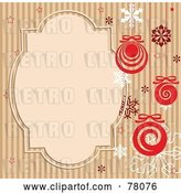 Vector Clip Art of Retro Brown Striped Background with Snowflakes, Baubles and a Text Box by Pushkin
