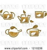 Vector Clip Art of Retro Brown Tea or Coffe Pots and Cups with Leaves 2 by Vector Tradition SM
