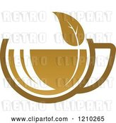 Vector Clip Art of Retro Brown Tea or Coffee Cup with a Leaf 2 by Vector Tradition SM