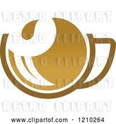 Vector Clip Art of Retro Brown Tea or Coffee Cup with a Leaf 3 by Vector Tradition SM
