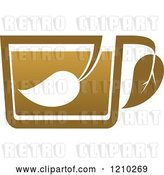 Vector Clip Art of Retro Brown Tea or Coffee Cup with a Leaf by Vector Tradition SM