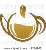 Vector Clip Art of Retro Brown Tea or Coffee Pot with a Leaf 2 by Vector Tradition SM