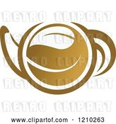 Vector Clip Art of Retro Brown Tea or Coffee Pot with a Leaf 3 by Vector Tradition SM