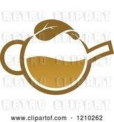 Vector Clip Art of Retro Brown Tea or Coffee Pot with a Leaf 4 by Vector Tradition SM