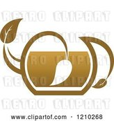 Vector Clip Art of Retro Brown Tea or Coffee Pot with a Leaf 5 by Vector Tradition SM