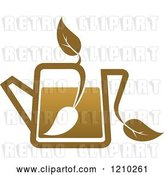Vector Clip Art of Retro Brown Tea or Coffee Pot with a Leaf 6 by Vector Tradition SM