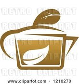 Vector Clip Art of Retro Brown Tea or Coffee Pot with a Leaf 7 by Vector Tradition SM