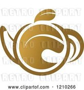 Vector Clip Art of Retro Brown Tea or Coffee Pot with a Leaf by Vector Tradition SM