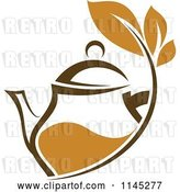 Vector Clip Art of Retro Brown Tea Pitcher with Leaves by Vector Tradition SM