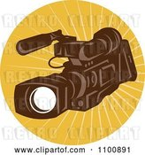 Vector Clip Art of Retro Brown Video Camera in a Circle of Rays by Patrimonio