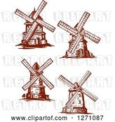 Vector Clip Art of Retro Brown Windmills by Vector Tradition SM