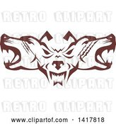 Vector Clip Art of Retro Brown Wolf Heads Facing Front and to the Sides by Patrimonio