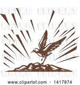 Vector Clip Art of Retro Brown Woodcut Plover Bird Landing on an Island by Patrimonio