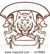 Vector Clip Art of Retro Browna Nd White Wolf Head over Cross Bones and Banners by Patrimonio