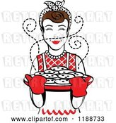 Vector Clip Art of Retro Brunette Housewife Holding Freshly Baked Cookies by Andy Nortnik