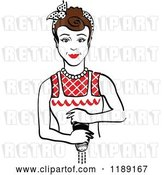 Vector Clip Art of Retro Brunette Housewife or Maid Lady Grinding Fresh Pepper 2 by Andy Nortnik